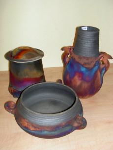 Keramikgefäße mit natürlicher Hitzeverfärbung