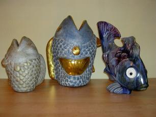Fischvase und Fisch aus Keramik